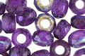 Czech Glass Matte Textured Violet AB Large Hole Fire Polished Rondelle 6x9mm