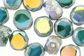 Czech Glass Caribbean Waters AB w/ Antique Silver Faceted Table Cut Oval 8x7mm