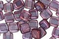 CzechMates Glass Luster Transparent Amethyst 2-Hole Tile 6mm