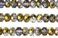 Czech Glass Gold w/ Purple & Green Fire Polished Rondelle 4x5mm