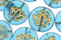 Czech Glass Matte Aquamarine w/ Gold Lotus Coin 14mm