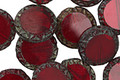 Czech Glass Garnet Picasso Tribal Coin 12mm