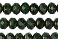 Czech Glass Emerald w/ Gold Finish Rondelle 5x7mm