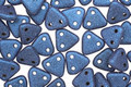 CzechMates Glass Metallic Suede Blue 2-Hole Triangle 6mm