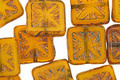 Czech Glass Opaline Orange Picasso Flower Window Square 10mm