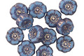 Czech Glass Bronzed Alice Blue Hibiscus Coin 7mm