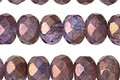 Czech Glass Bronzed Lavender Fire Polished Rondelle 6x9mm
