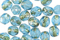 Czech Glass Aquamarine Waters w/ Gold Flecks Fire Polished Round 6mm