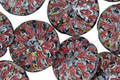 Czech Glass Jet Picasso w/Red Dahlia Coin 14mm