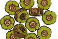 Czech Glass Bronzed Chartreuse Hibiscus Coin 8-9mm