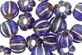 Czech Glass Blue Nile w/ Gold Large Hole Melon Round 8mm