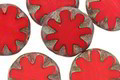 Czech Glass Red Hot Picasso Flower Window Coin 14mm