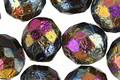 Czech Fire Polished Glass Matte Textured Jet Rainbow AB Round 12mm