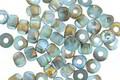 Czech Glass Matte Aquamarine AB w/ Etched Gold Trica Beads 3x4mm