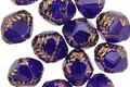 Czech Glass Sapphire w/ Bronze Etched Bicone 10x8mm