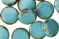 Czech Glass Turquoise Picasso Coin 11mm