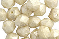 Czech Glass Ivory w/ Mercury Luster English Cut Bead 6x8mm