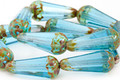 Czech Glass Aquamarine Picasso Faceted Teardrop 20x8mm