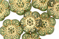 Czech Glass Olive w/ Gold Wild Rose Coin 13mm