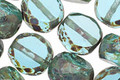 Czech Glass Aquamarine Picasso Slice Faceted Round 12mm