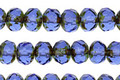 Czech Glass Tanzanite Light Picasso Fire Polished Rondelle 5x7mm