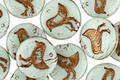 Czech Glass Bronzed Sweet Mint Bird Coin 11mm