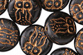 Czech Glass Bronzed Jet Owl Coin 14mm