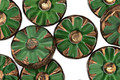 Czech Glass Bronzed Emerald Isle Flower Window Coin 12mm