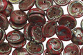 Czech Glass Red Picasso 2-Hole Piggy Bead 8mm