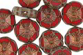 Czech Glass Bronzed Cherry Picasso Hibiscus Coin 12mm