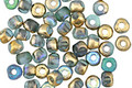 Czech Glass Matte Aquamarine AB w/ Gold Luster Trica Beads 2.5x4mm