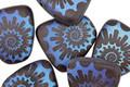 Czech Glass Matte Laser Etched Ammonite on Jet w/ Rainbow Finish Pendant 23x24mm