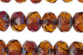 Czech Glass Caramel Apple Fire Polished Rondelle 6x9mm