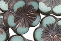 Czech Glass Luster Mint Picasso Hibiscus Flower 21mm
