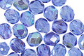 Czech Fire Polished Glass Sapphire AB Round 6mm