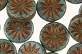 Czech Glass Green Turquoise Picasso w/ Bronzed Daisy Coin 12mm