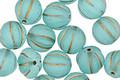 Czech Glass Matte Aquamarine w/ Gold Melon Round 8mm