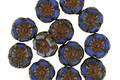 Czech Glass Denim Blue Picasso Hibiscus Coin 7mm