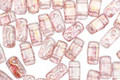 CzechMates Glass Luster Transparent Topaz/Pink 2-Hole Brick 3x6mm