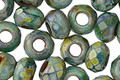 Czech Glass Seaspray Large Hole Fire Polished Rondelle 5x8mm