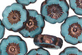Czech Glass Bronzed Turquoise Hibiscus Coin 12mm