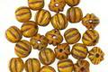 Czech Glass Golden Dandelion Melon Round 5mm