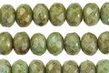 Czech Glass Green Turquoise Picasso Fire Polished Rondelle 5x7mm