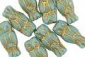 Czech Glass Turquoise w/ Gold Wash Owl 15x7mm