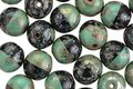 Czech Glass Turquoise Picasso and Dark Garden Round Druk 8mm