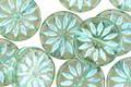 Czech Glass Prairie Green w/ Turquoise Daisy Coin 12mm