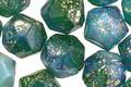 Czech Glass Emerald Skies w/ Gold Flecks English Cut Bead 10x11mm