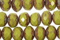 Czech Glass Pistachio Picasso Fire Polished Rondelle 6x9mm
