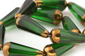 Czech Glass Emerald w/ Gold Faceted Teardrop 20x8mm