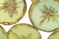 Czech Glass Green Tea Dragonfly Coin w/ Scalloped Edge 22mm